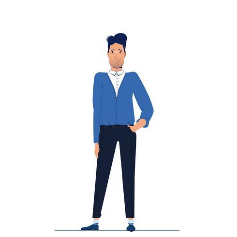 Il personaggio è un uomo d'affari si leva in piedi e guarda avanti. Illustrazione di cartone animato vettoriale