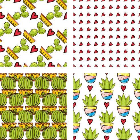 Establecer patrones sin fisuras de cactus y suculentas en macetas.