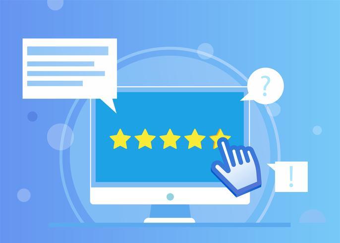 Star Rating with cursor on website. Feedback for user online. Vector flat illustration
