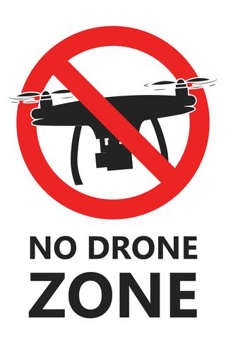 No drone zone sign. No fly zone. Vector flat illustration