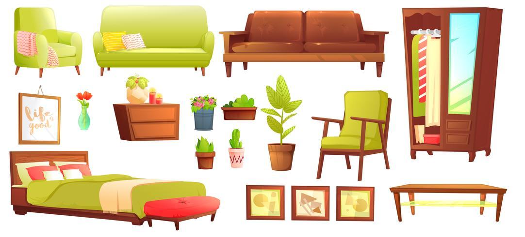 Conjunto de objetos de salón o dormitorio con sofá de cuero y estante de madera con marco y libros. Muebles de estilo - una lámpara y un jarrón y una mesa. Ilustración vectorial de dibujos animados