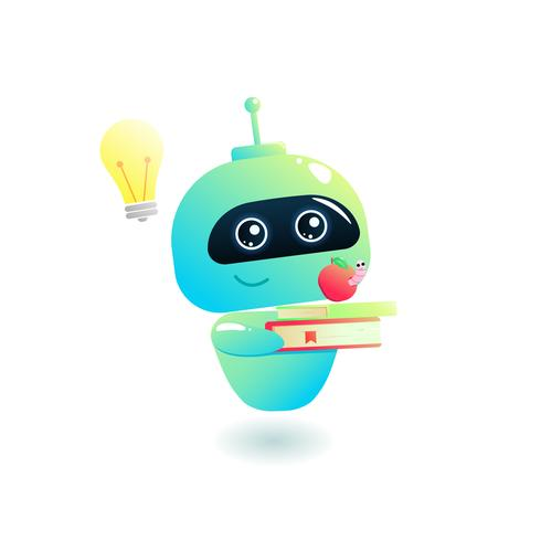 Bot is learning. Study chatbot with book. Online education. cartoon illustration