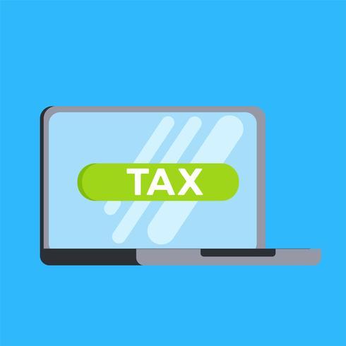 Steuern online mit einem Laptop. Flache Vektorillustration