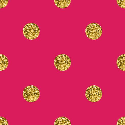 Pattern polka dot gold  on pink background.  vector