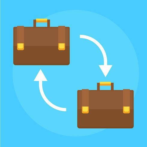 Bannière B2B. Deux valises pour hommes d'affaires. Illustration de plat Vector