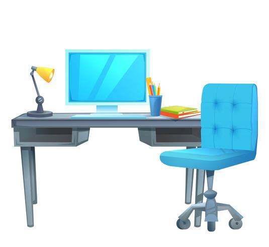 Lieu de travail avec un bureau d'ordinateur sur lequel se trouvent des livres et une lampe. Illustration de dessin animé de vecteur