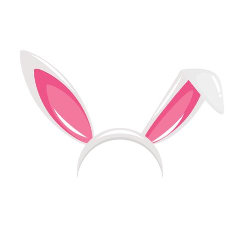 Bunny ears and nose carnival mask for a photo. Festival of Rabbits. Vector cartoon illustration
