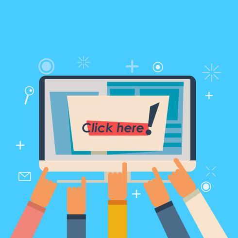 Computer con il pulsante clicca qui. Le mani indicano l'iscrizione. illustrazione piatta vettore