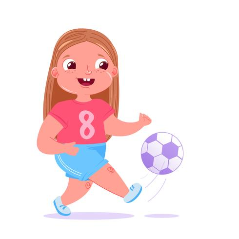 Cute baby girl playing football outside on grass with a soccer ball. Player's team modern uniform. Healthy activities. Vector cartoon illustration