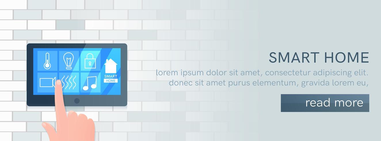 Bandera de tecnología de casa inteligente. Pantalla digital en pared. Ilustración vectorial de dibujos animados vector