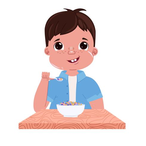 A baby boy eats breakfast in the morning vector