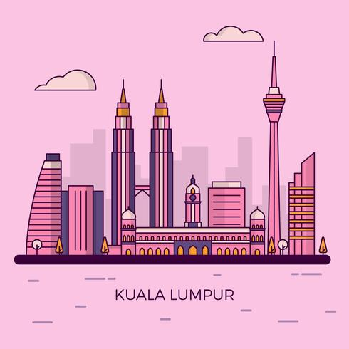 Flache moderne Kuala Lumpur City Skyline-Vektor-Illustration