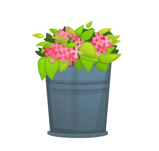 Pink Flower with green leaf in metallic bucket pot. - Vector
