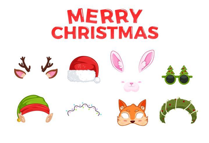 Nieuwjaarsmaskers voor foto's. Kerst clipart Santa Claus en elf en konijn en herten, en fox. Vector cartoon illustratie