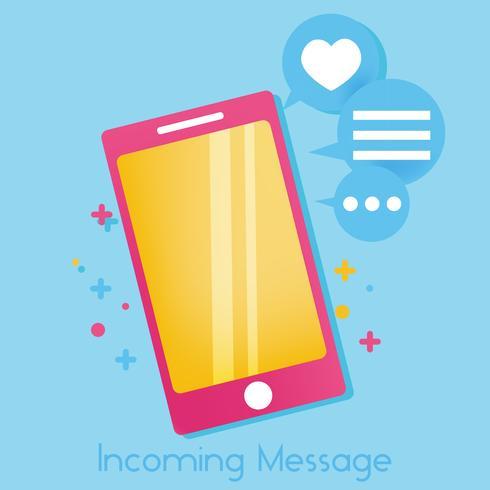 Vamos falar de banner. Telefone bonito brilhante com ícones de mensagens e gosta de ilustração