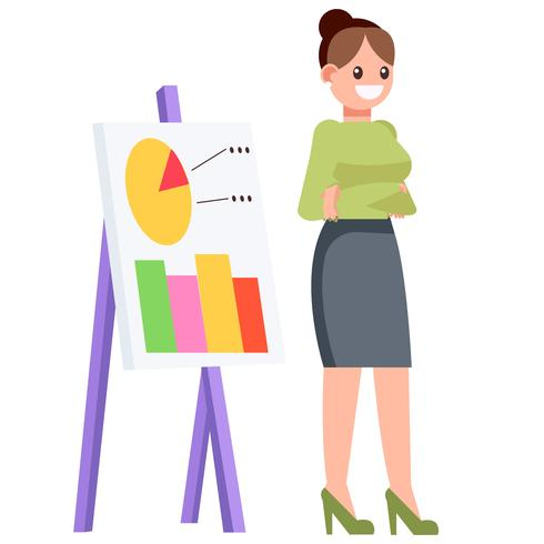 A woman with a chart chart, shows statistics. Vector flat illustration