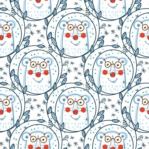 Christmas pattern with polar bears. vector