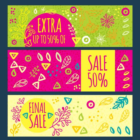 Sale banner hand drawn  vector