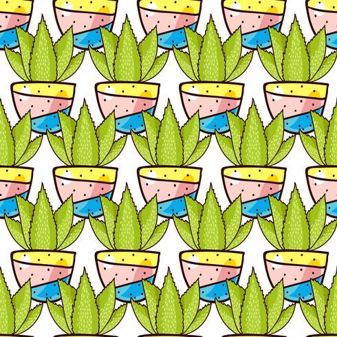 Nahtloses Muster von Kakteen und Succulents in Töpfen.