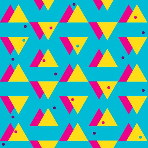 Seamless abstract pattern 80s triangles vector