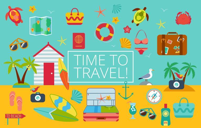 Conjunto de iconos planos de viaje