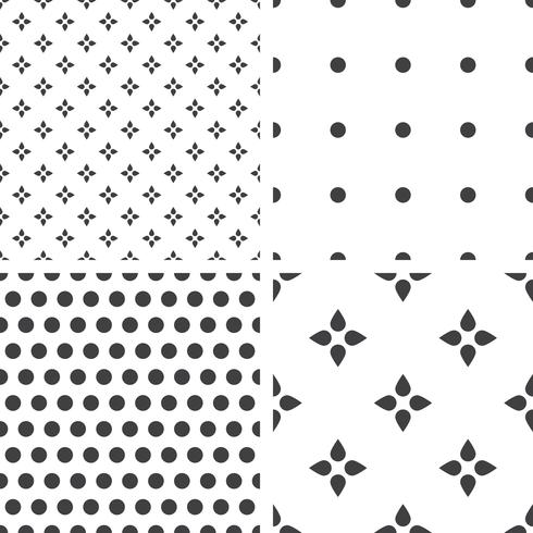 Set of monochrome geometric seamless universal patterns, tiling.   vector