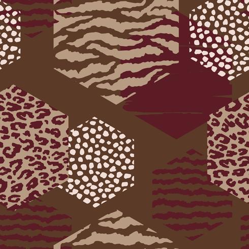 Abstrakt geometriskt sömlöst mönster med djurtryck och hexagoner.