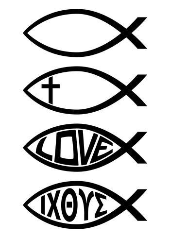 Illustrazione religiosa di vettore dell'icona di simbolo cristiano del pesce di Ichthus