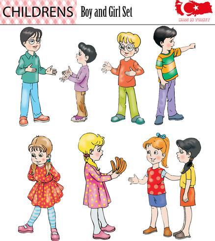 Pojke och flicka teckenuppsättning, vektor, eps