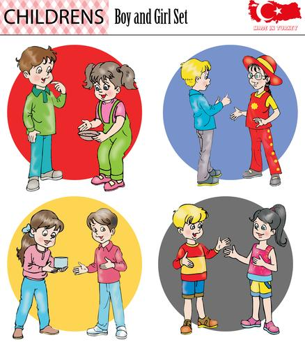 Boy and girl character set, vector, eps - Download Free Vector Art