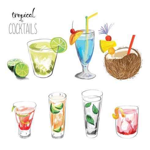 Sats av tropiska cocktails.