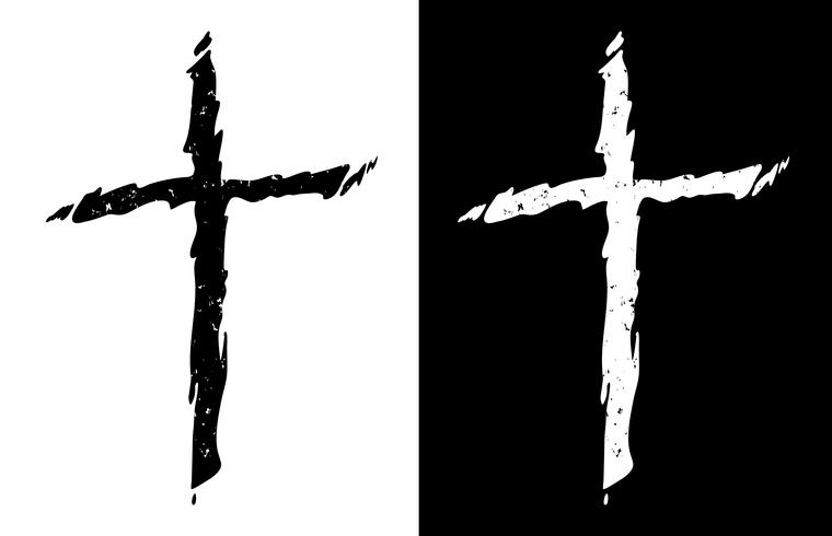 Vieja cruz cristiana apenada rugosa en la ilustración aislada y aislada en blanco y negro del vector