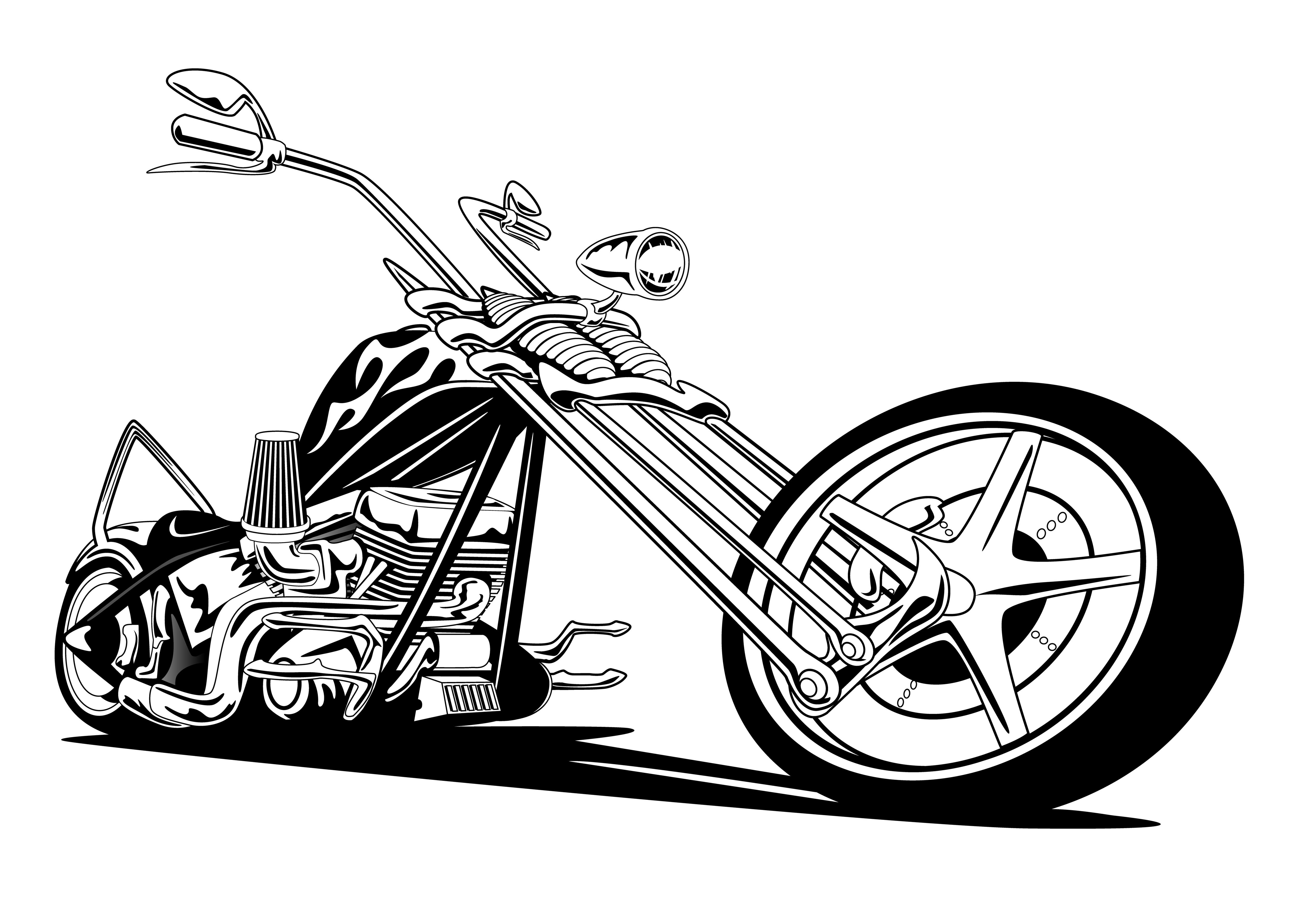Kleurplaat Motor Harley Custom American Chopper Motorcycle Vector Illustration