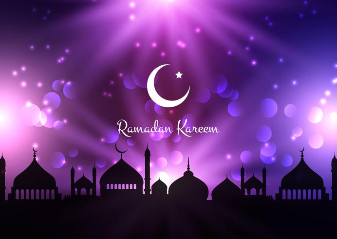 Ramadan Kareem background with mosque silhouettes against night sky vector