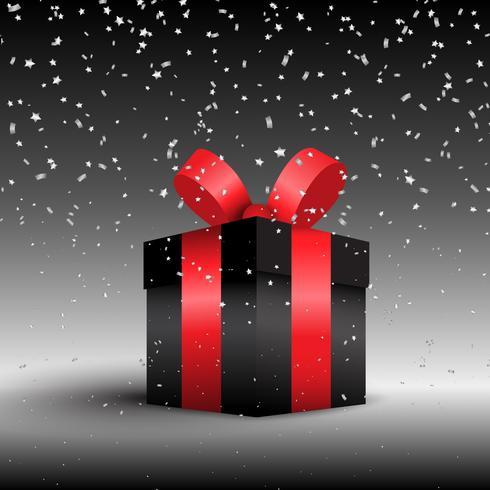 Luxuriöses Geschenk auf einem Hintergrund mit silbernen Konfetti