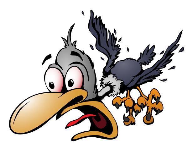 Illustration de vecteur oiseau fou de dessin animé