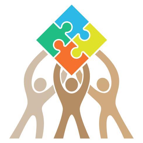 Trabalho em equipe Puzzle Logo Vector Illustration