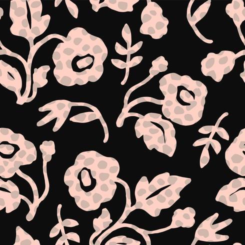 Motif sans soudure floral abstrait avec des textures dessinées à la main tendance.