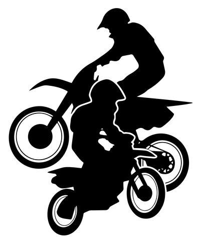 Illustrazione di vettore della siluetta delle bici della sporcizia di motocross