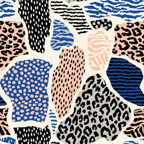 Modelo inconsútil abstracto con el estampado de animales Texturas dibujadas a mano de moda.