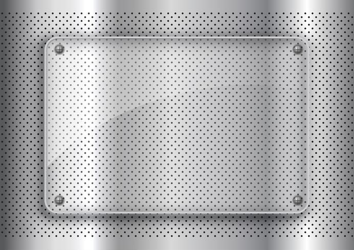 Glasplatta på perforerad metall bakgrundsbakgrund