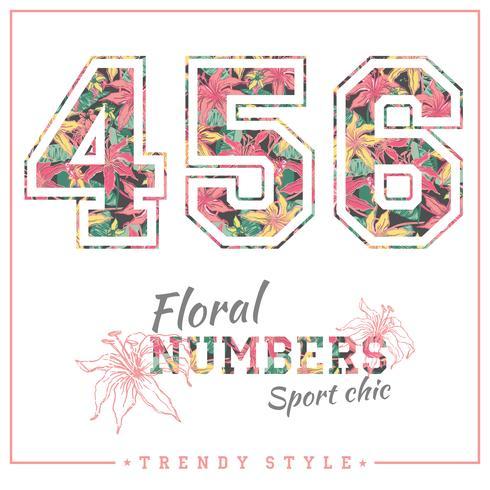 Números florales vectoriales para camisetas, carteles, tarjetas y otros usos.