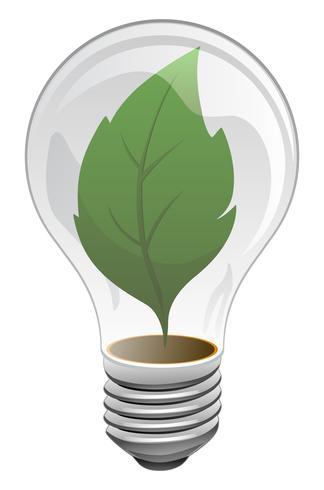 Energia limpa, sustentável, renovável, ilustração em vetor de folha verde lâmpada