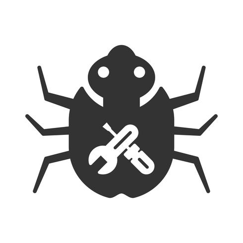 Bug Fixing Glyph Icons vector