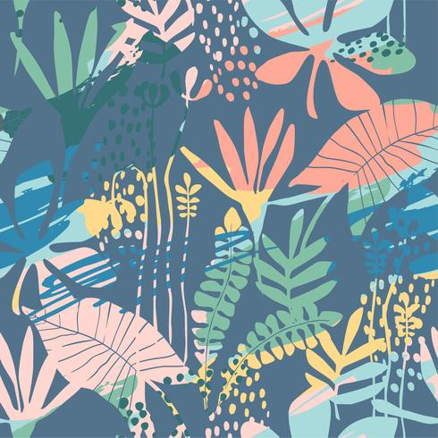 Abstract floral seamless pattern with trendy hand drawn textures. vector