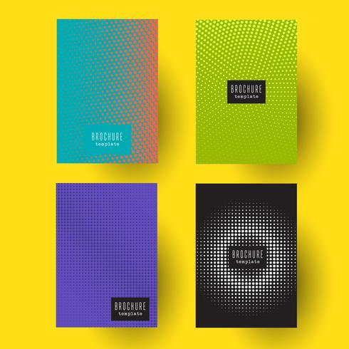 Modelos de brochura com desenhos de ponto de meio-tom