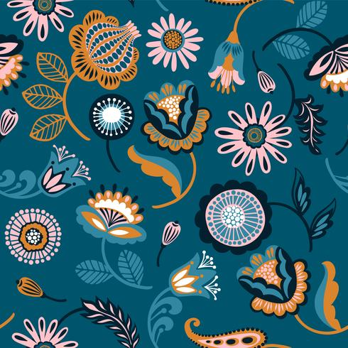 Folk floral seamless pattern. vector
