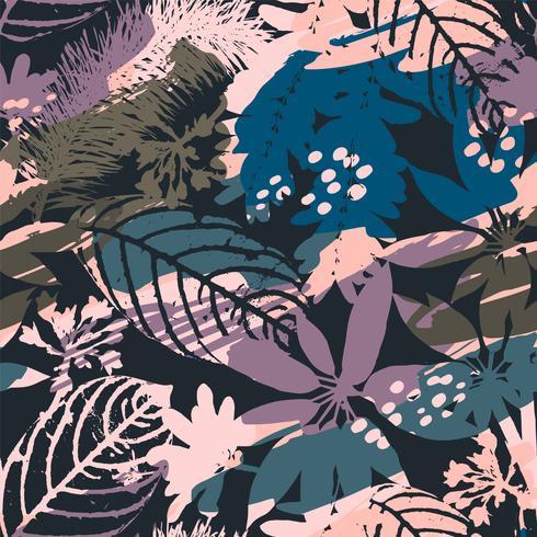 Siluetas inconsútiles florales abstractas del modelo de hojas y del fondo artístico.