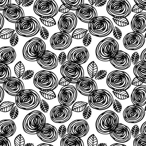 Abstract bloemen naadloos patroon met rozen. Trendy hand getrokken texturen.