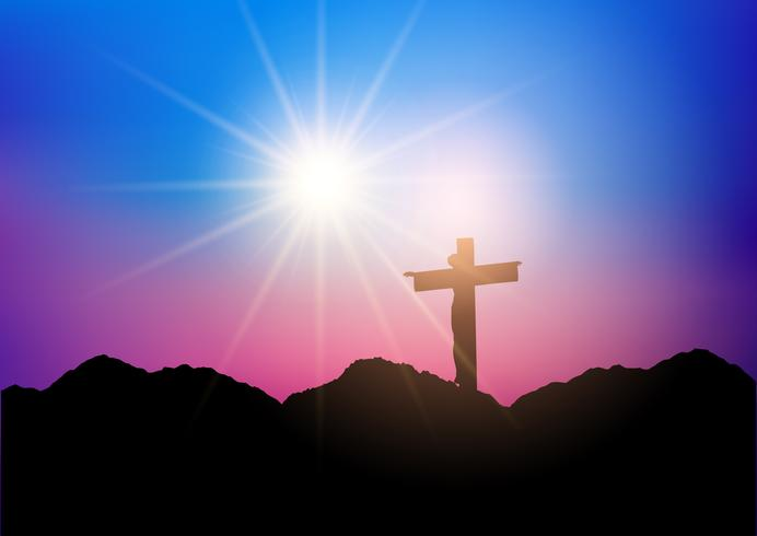 Silhouette of Jesus on the cross